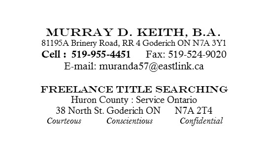 Murray D. Keith Freelance Title Searching